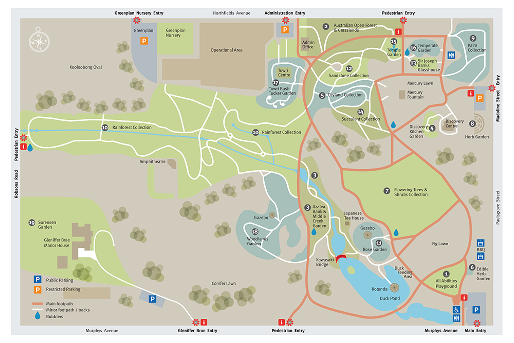 map of Wollongong Botanic Garden